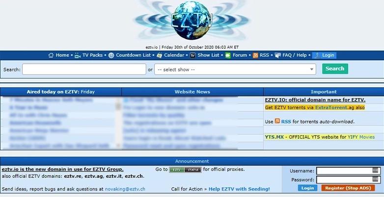 EZTV pagina de inicio