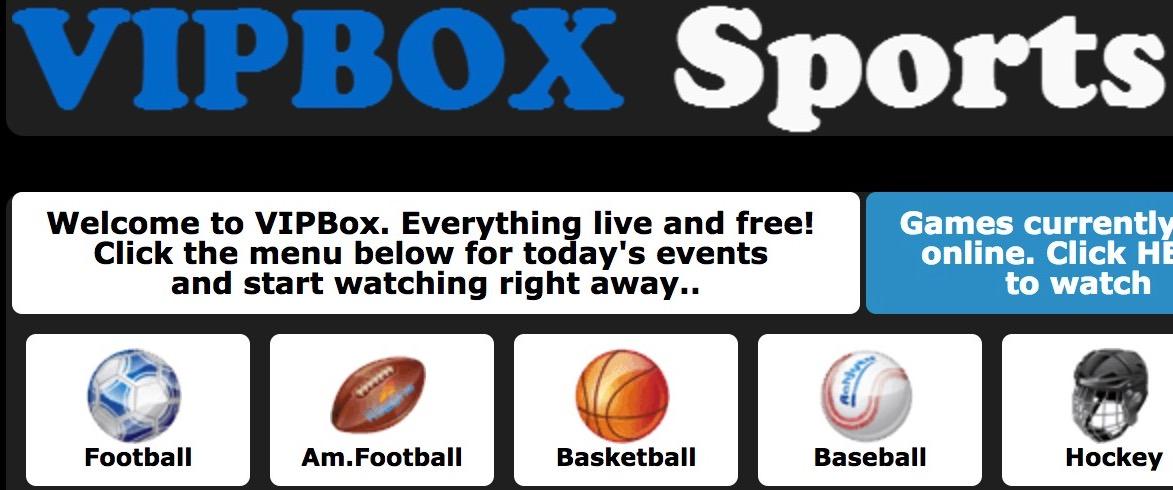 Vip Box Sports pagina de inicio